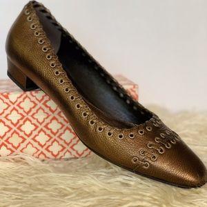 Vintage Prada Flats in Textured Bronze Leather